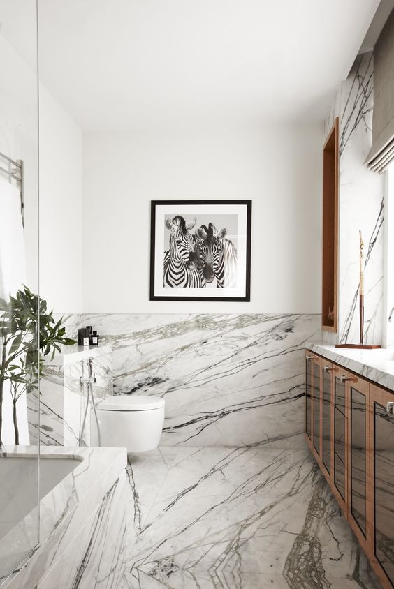 Viyet Bathroom Inspriation | All About the Accents | Add warm wood tones to a heavy veined marble bathroom