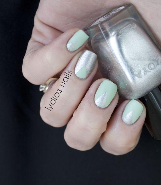 Metallic and pastel matte nails