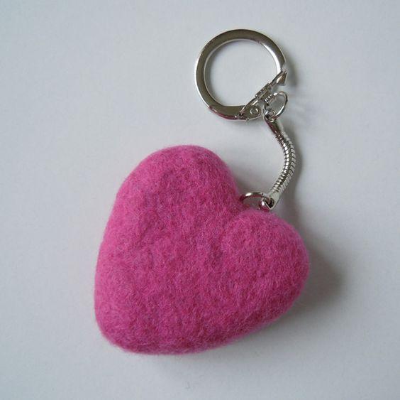 Felt Heart Key Ring Fondant Pink £4.50