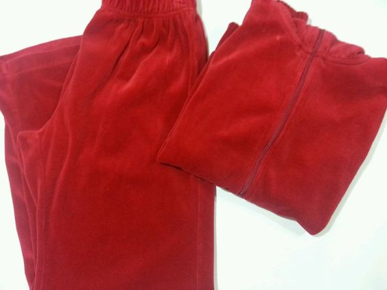 Erika Warm Up Suit Velour Pants Zip Up Jacket Red Women's Size Small Petite…