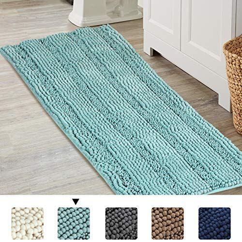 Bathroom Runner Rug Extra Long Chenille Area Rug Set Eggshell Blue