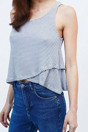 BDG Striped Cami in Ivory and Blue - Urban Outfitters