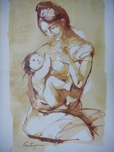 Nombre: Maternidad en Sepia N° 430/500 | Autor: Juan C. Castagnino | Técnica: Serigrafia |  Alto: 65cm | Ancho: 45cm | Año: 1962