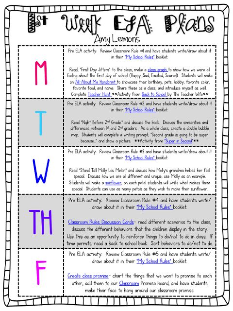 First Week Lesson Plan Ideas for 2nd Grade I chose this because it gives a clear visual of what to teach each day of the week.