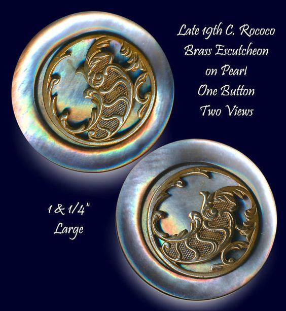 Button--Large 19th C. Rococo Brass Escutcheon Recessed in Silver Gray Pearl