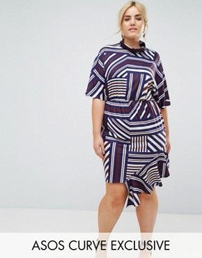 ASOS CURVE Dress In Stripe with High Neck and Batwing