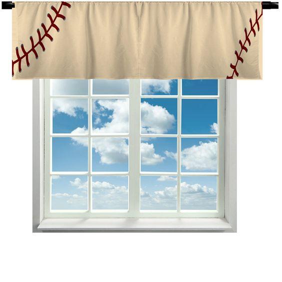 Stitched Baseball Theme Valance