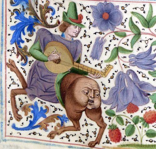 monstrous musician Froissart's Chronicles, Bruges ca. 1470-1475 Paris, BnF, Français 2643, fol. 72r