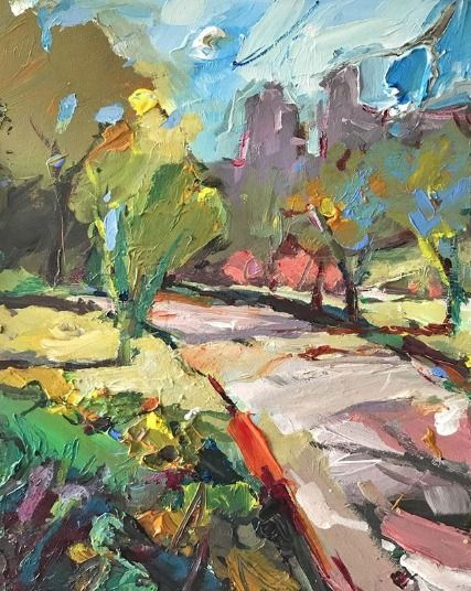 Springtime In Central Park 22x30cm Acrylic On Board Expressionist Landscape Painting Artgallery Abstract Landscape Abstract Landscape Painting Abstract