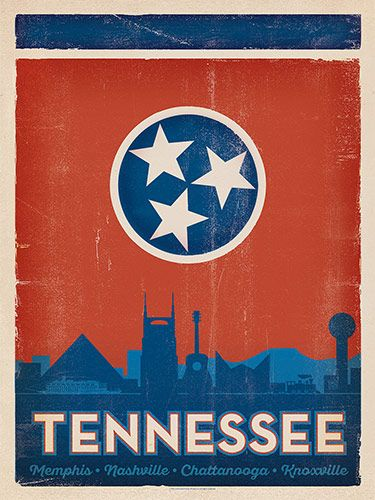 State Flag: Cities of TN - This State Flag print features landmarks from the Memphis, Chattanooga and Nashville skylines. The three white stars represent the three grand divisions of the state—East, Middle and West Tennessee. They are bound together by the endless circle of the blue field. The large crimson field symbolizes that in times of war and peace, Tennesseans remain true-blooded Americans.