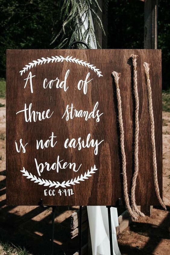 Excited to share this item from my #etsy shop: A cord of three strands is not easily broken. Custom Wood Sign, Calligraphy Wedding Sign