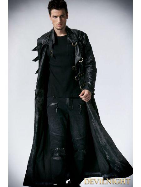 Black Alternative Gothic Long Trench Coat for Men - Devilnight.co.uk: