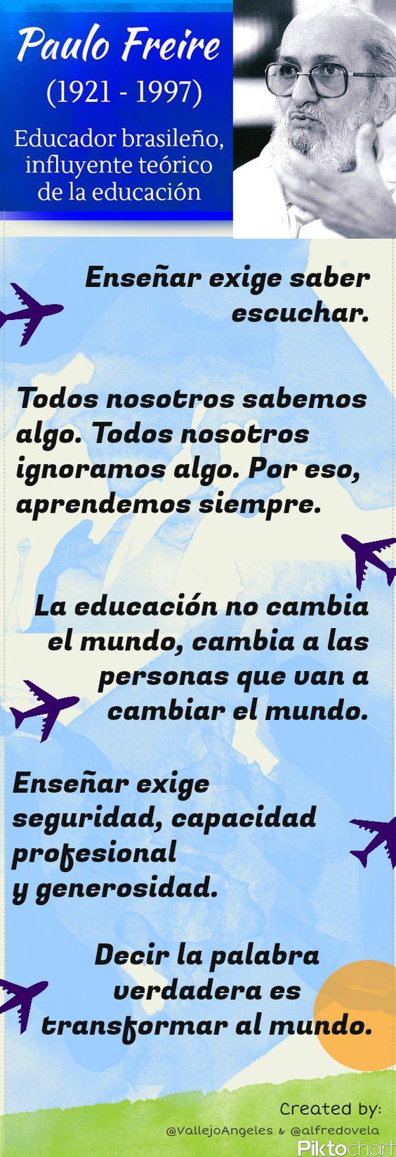 Frases célebres de Paulo Freire sobre educación #infografia #infographic #citas #quotes education | TICs y Formación