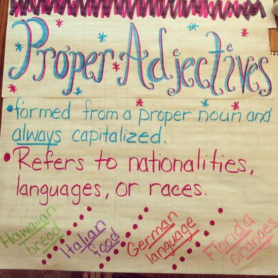 Proper adjectives worksheets 4th grade