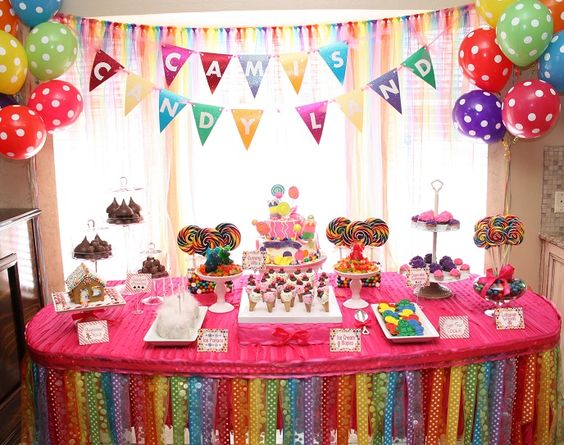 We love the color in this Candyland Party! #kidsparty #partydecor #candyland #partyidea