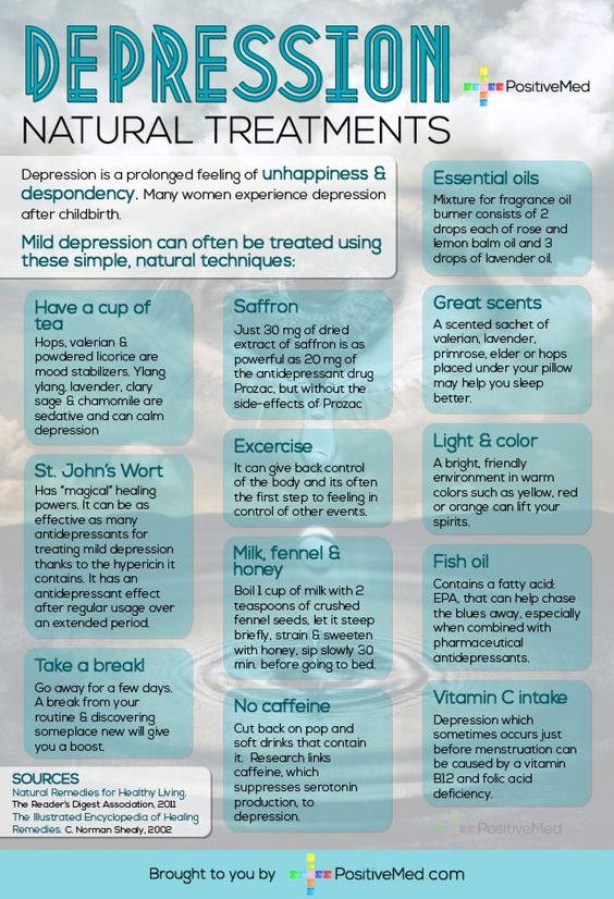 Depression Natural Treatments: Site has other infographics, facts, links, & information about depression
