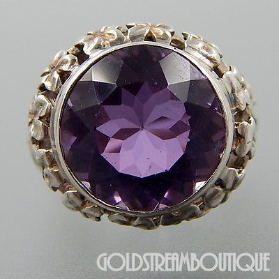 ROUND AMETHYST FLORAL STERLING SILVER COCKTAIL RING SIZE 8.25 SKU-3537