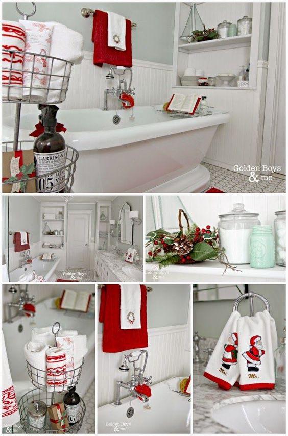 DIY master bathroom with pedestal tub with Christmas decor-www.goldenboysandme.com