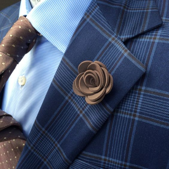 Mens Foam Lapel Flower in Brown // Mens Boutonniere by HelloOliver:
