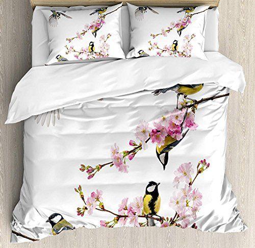 Birds Twin Bedding Duvet Cover Set 4 Piece Hotel Quality Luxury Soft Brushed Microfiber Group Of Cute Hummingbi Duvet Cover Sets Bird Duvet Covers Bird Duvet