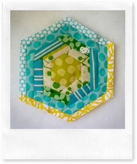log cabin hexagon (quilt as you go tutorial) great for potholders
