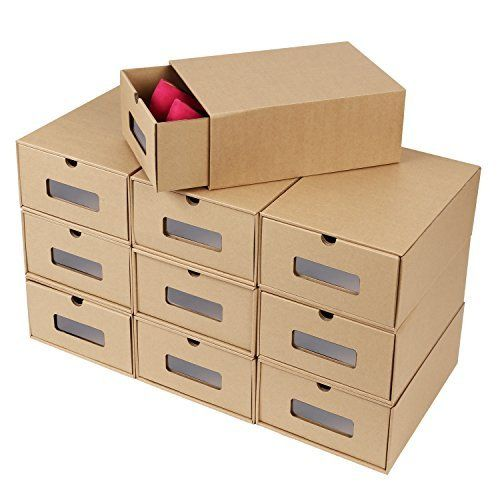Mvpower Boites A Chaussures En Papier Kraft Shoe Box Storage Boxes