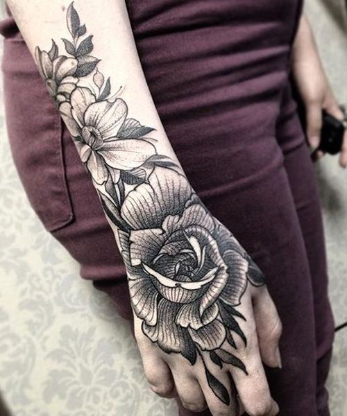 Great Placement Of Floral Wrist Tattoos For Girls Love Life Fun In 2020 Hand Tattoos Full Hand Tattoo Hand Tattoos For Women