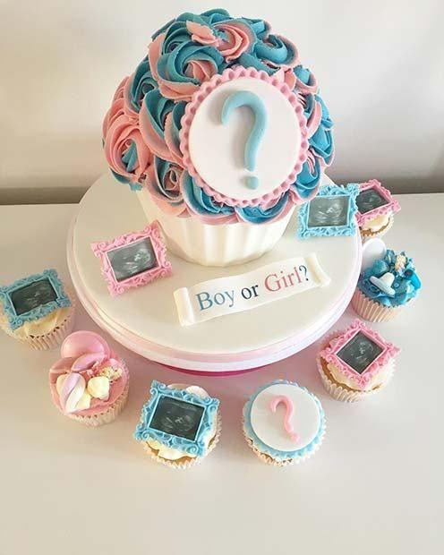 21 Cute And Fun Gender Reveal Cake Ideas 2 Scan Photo Cake And Cupcake Idea Genderrevea Gender Reveal Cupcakes Gender Reveal Cake Gender Reveal Party Food