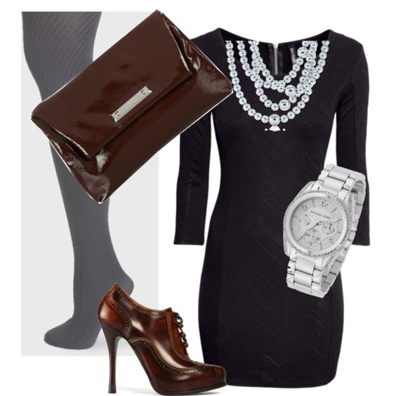Simple black dress with fancy accessories