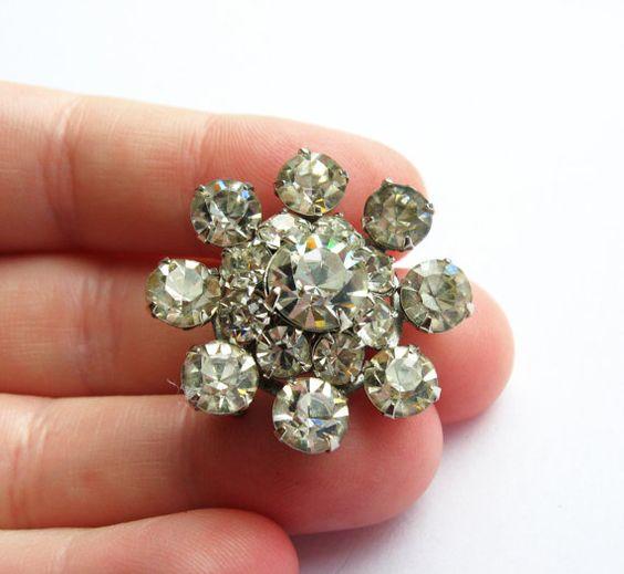 Vintage Diamond Cluster Rhinestone Brooch/Pin - Vintage Jewelry by FembyDesign