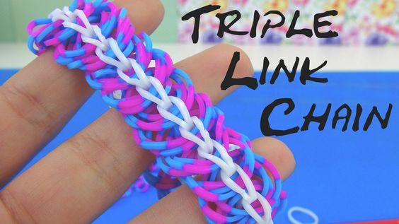 Loom bands Triple Link Chain Bracelet Anleitung mit Gabel. How to make linke…