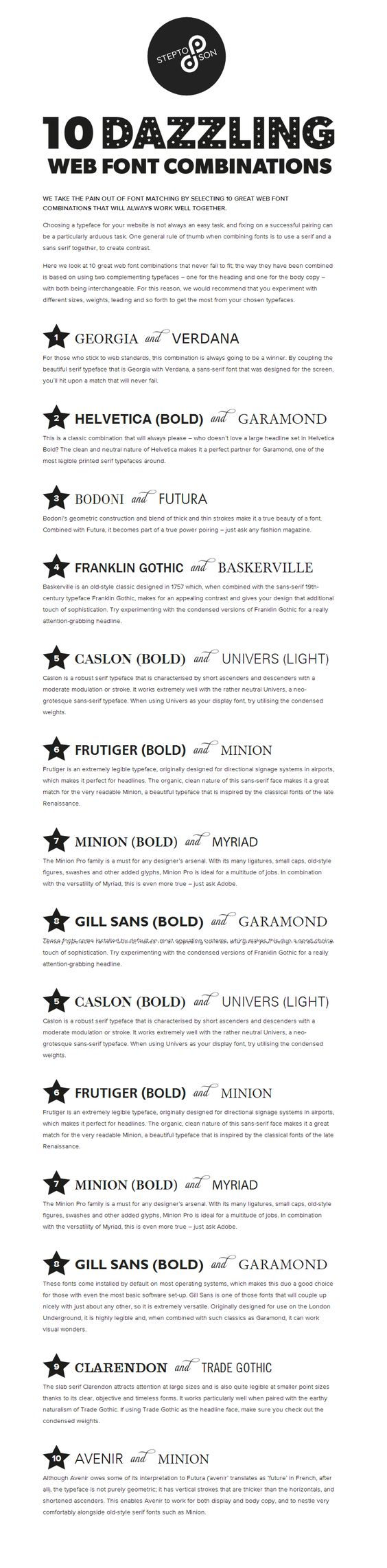 10 great web font combinations my fave is the number 1 combo