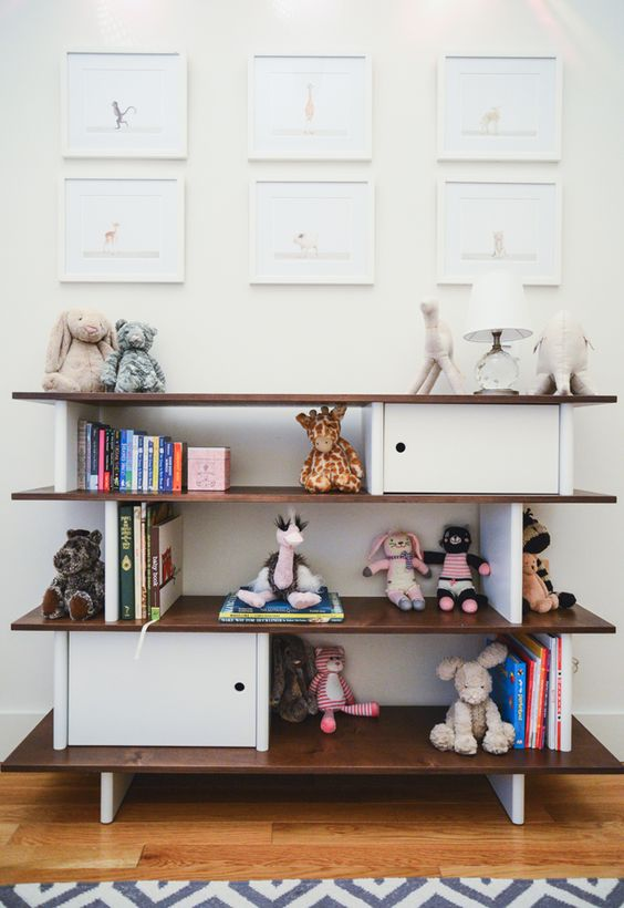 Animal Prints and Oeuf Mini Library in Nursery - love this simple, clean design!
