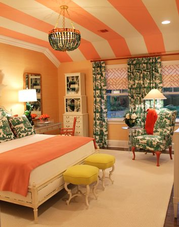 So warm and homey! LOVE the ceiling stripes, color palette, chandelier, and square benches at the foot of the bed!