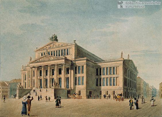 Architecture: Schauspielhaus. Berlin Germany. Late Neoclassical. German Greek Revival, Beidermeier