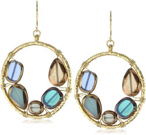 Sparkling Sage Antique Glass Blue Circle Pendant Gold-Tone E