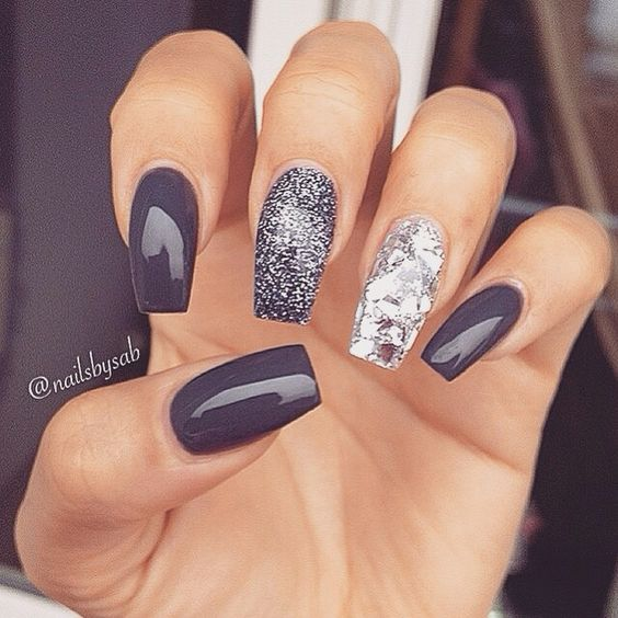 Grey, silver and gunmetal glitter - maybe switch the middle and index finger?? Nice.: