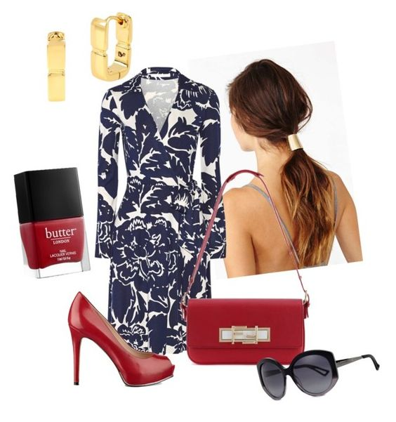 """""""Look # 052"""" by alba-alves-borges on Polyvore featuring Diane Von Furstenberg, GUESS, Fendi, Butter London, Christian Dior, women's clothing, women, female, woman and misses"""