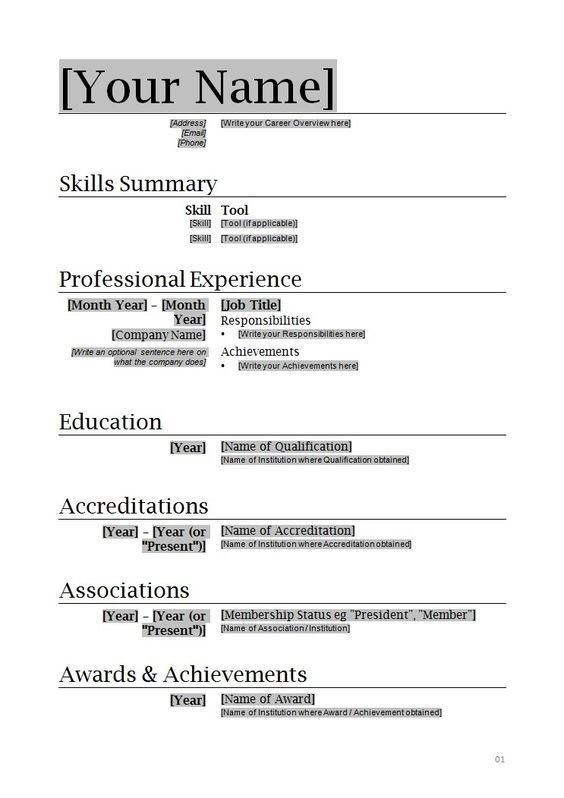Resume Templates Microsoft Word Download Want a FREE refresher course? Click here...