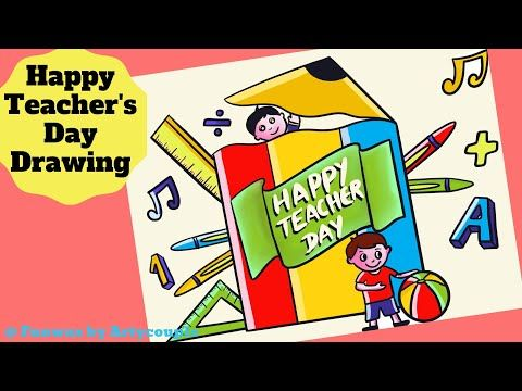 Happy Teachers Day Drawing Cute Teacher S Day Sketch For Kids Youtube Teachers Day Drawing Children Sketch Happy Teachers Day