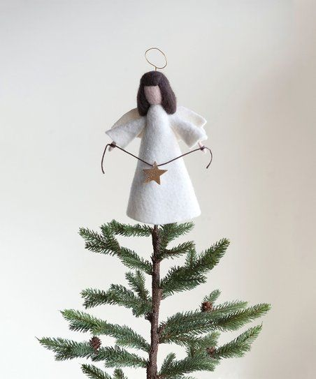 White Wool Felt Angel Tree Topper | Zulily