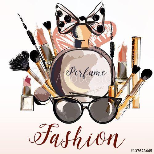 Fashion vector illustration with perfume, make up, mascara, lipstick for design: comprar este vector de stock y explorar vectores similares en Adobe Stock