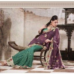Green Violet Party Wear Saree.