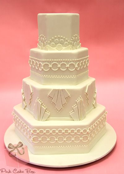 Art Deco Wedding Cake by Pink Cake Box in Denville, NJ.  More photos at http://blog.pinkcakebox.com/art-deco-wedding-cake-2-2012-11-19.htm  #cakes