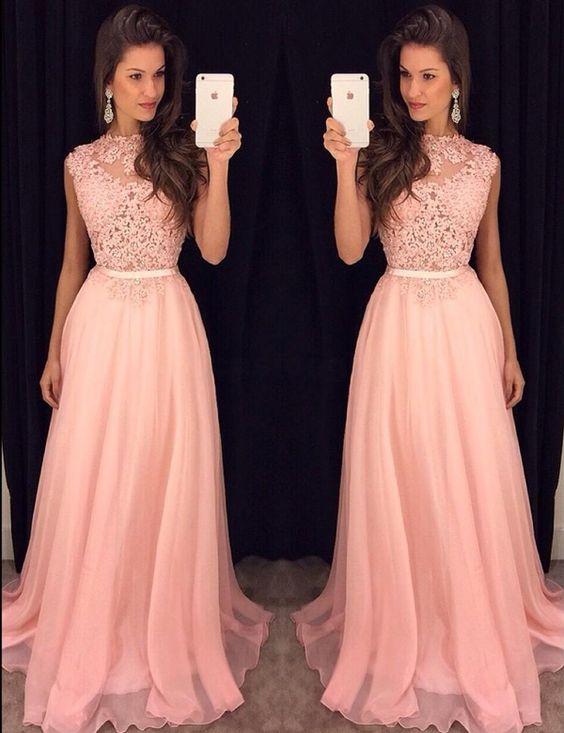 Buy here: https://www.occasiongirl.com/prom-dresses/elegant-bateau-sleeveless-sweep-train-pink-prom-dress-with-lace.html?OG201601192