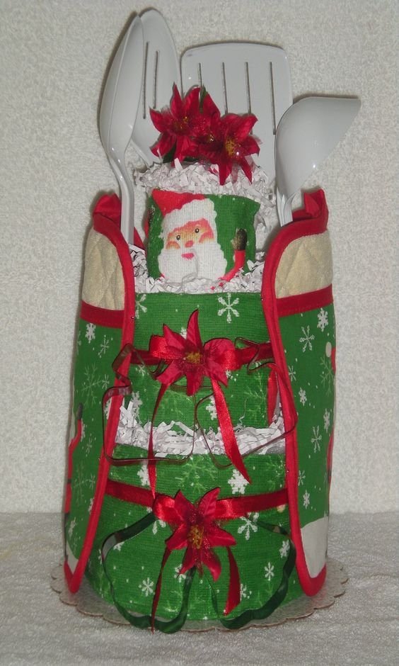 Christmas kitchen towel cake towel cakes pinterest for Christmas kitchen gift basket ideas