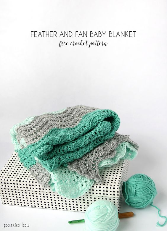 Feather and Fan Baby Blanket Crochet Pattern | Patrón gratis, Plumas ...