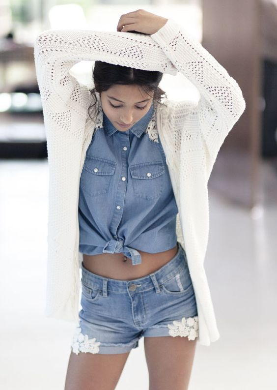 Vêtements pour adolescente IKks : Short WAY et chemise en jean fille