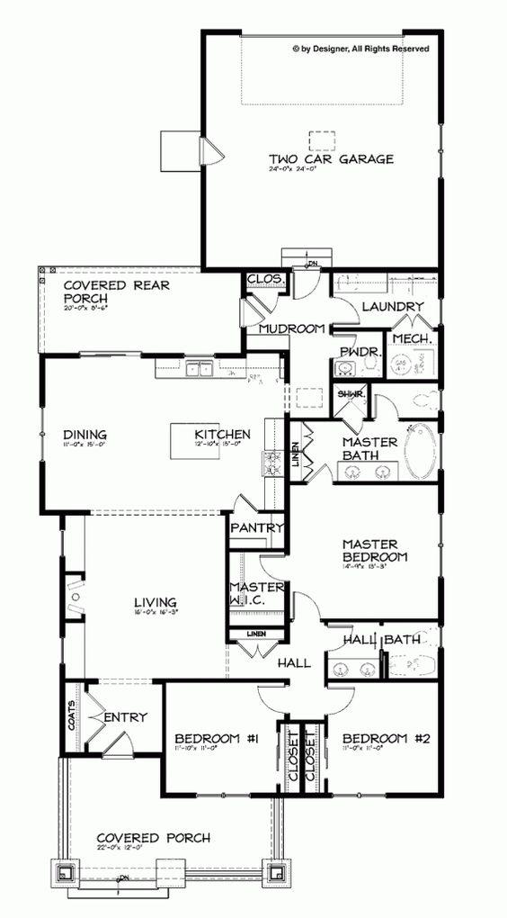 Bungalow craftsman single story open floor plan for Single story craftsman bungalow house plans
