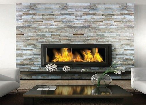 Awesome Stacked Stone Fireplace Contemporary Living Room